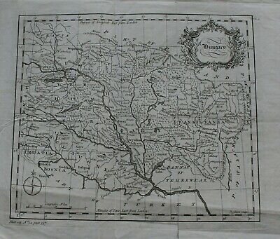 18th Century Map of Hungry copper engraving