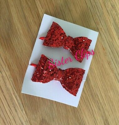 """Set of 2 toddler / pigtail 1.5"""" bow hair bobbles red glitter"""