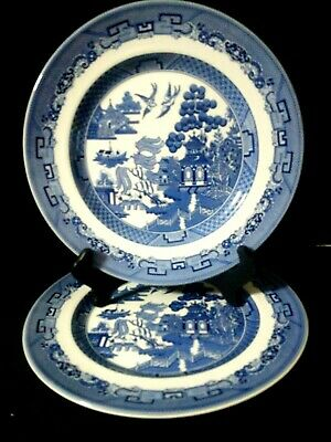"""USED ONCE Johnson Brothers England (2) Blue Willow 10 1/4"""" Dinner Plates"""