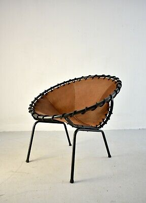 Vintage Mid-Century Metal Basket Shaped Lounge Chair, Brushed Leather Seating