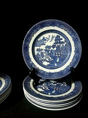 """USED ONCE Johnson Brothers England (6) Blue Willow 7.5"""" Salad Dessert Plates"""