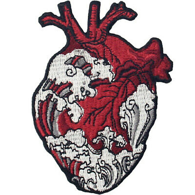 Embroidered Patches Iron Sew On Patch transfers Badges applique The Waves Heart