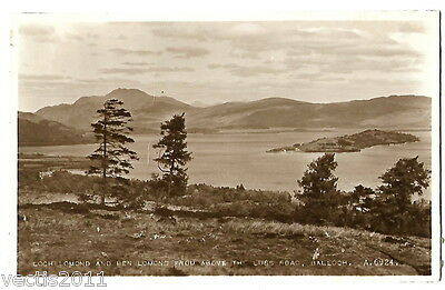 Ben Lomond & Loch Lomond, Balloch, Argyllshire, Scotland real photo Postcard