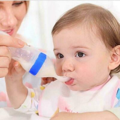 Baby Silicone Squeezing Feeding Spoon 90ML Safe Food Feeder Supplement Spoo A6I9