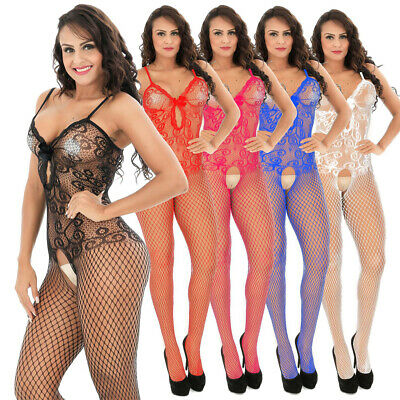 Sexy Womens Sissy Fishnet Floral Lingerie Open Crotch Full Body Stocking Nightie