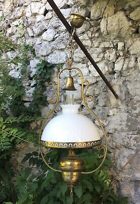 X Large French Brass Hanging oil lamp Chandelier brass Vintage Light Fixture