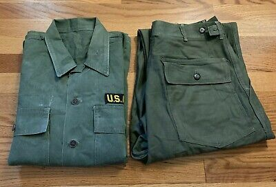 Vintage WWII KOREA WAR Era US ARMY HBT Herringbone 13 Star Button Pants/ Jacket.