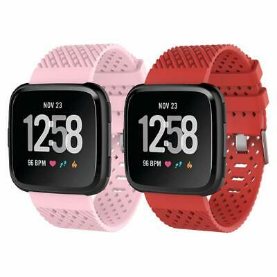 For Fitbit Versa Band Silicone Sport Wrist Strap Replacement Small Women 2 Pack