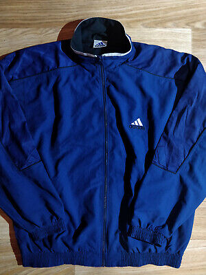 Adidas 90's Vintage Mens Zip Sweatshirt Tracksuit Top Jacket Navy Blue Big Logo
