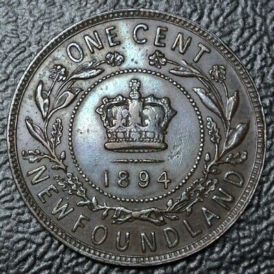 OLD CANADIAN COIN 1894 NEWFOUNDLAND - ONE CENT - COPPER - Victoria - Nice DETAIL