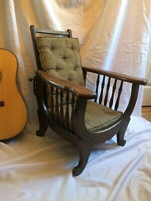 Victorian Antique Oak Heywood Wakefield Childs Childrens Reclining Morris Chair