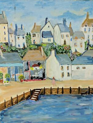 RINA STONER Oil Painting On Canvas BUILDINGS & HARBOUR CORNWALL