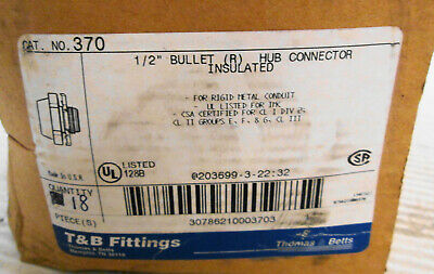 (18) Thomas & Betts 370 Insulated Bullet Hub Connector 1/2""