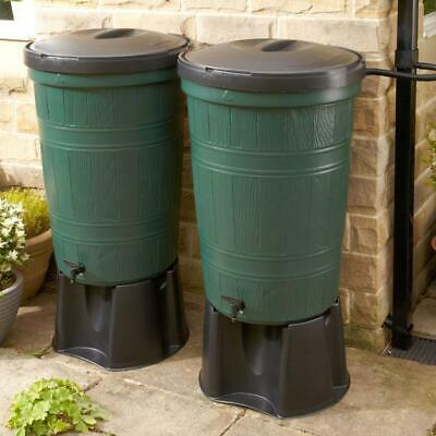 400 litre Water Butt Double Kit - 2 x 200 litre barrels, stands, taps and pipes