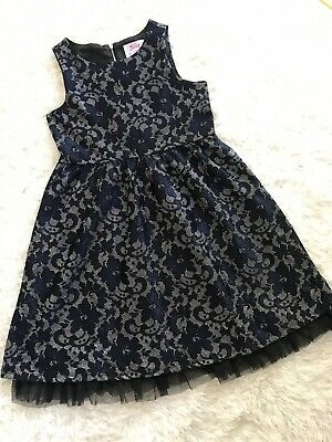 Justice Girls Navy Blue Lace Floral Shimmering Dress Sz 12 Party Holiday EUC