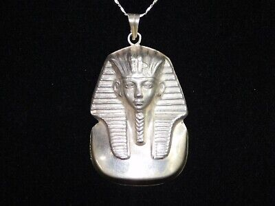 """925 Stamped Solid Silver Egyptian 3D Tutankhamon Head Pendant with 24"""" Chain"""
