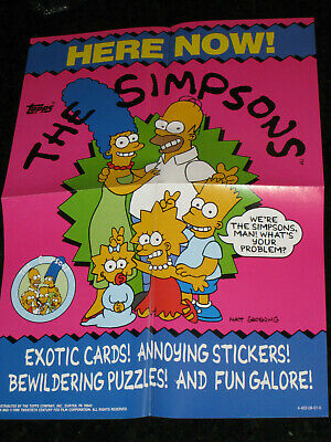 Simpsons Trading Card Box Topper Promotional Here Now! Poster 1990 Vintage Topps