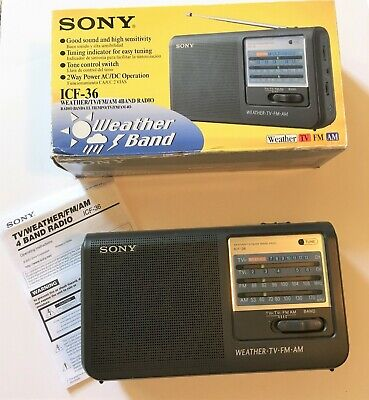Sony Model ICF-36 AM/FM/TV Weather Portable 4 Band Radio Nice Tested w/Box