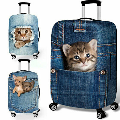 "18""-32"" Elastic Dog Cat Print Travel Luggage Suitcase Protective Dust Case Cover"