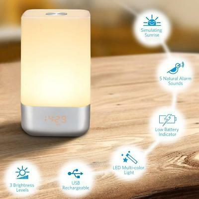7 Farben LED Touch Sensor Wake Up Light Sonnenaufgang Wecker am Bett Nacht
