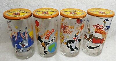 4x Yr 2000 IXL Jam Collectables Looney Tunes glass with LID Bugs Daffy Tweety