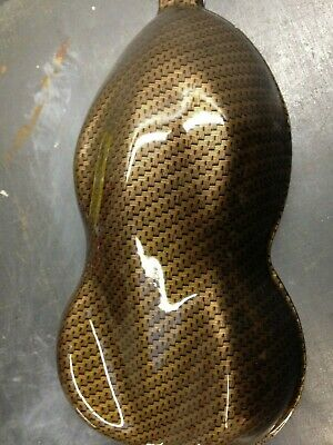Gold carbon fibre hydrographic film hydro dipped 50cm width, various size Folded