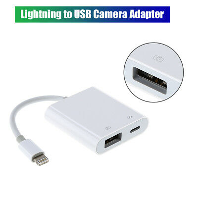 8-Pin Lightning To USB Camera Adapter Durable White New For iPad iPhone XS 8P 7P
