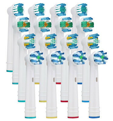 16 Replacement Toothbrush Heads Compatible for Oral-B Braun Clean Floss 3D White