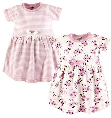 GIRLS Organic Cotton DRESSES 2Y * SET OF TWO pink blossom / stripes BNWT