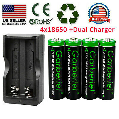 4 X 18650 Battery 3.7v Rechargeable Batteries + Dual Charger