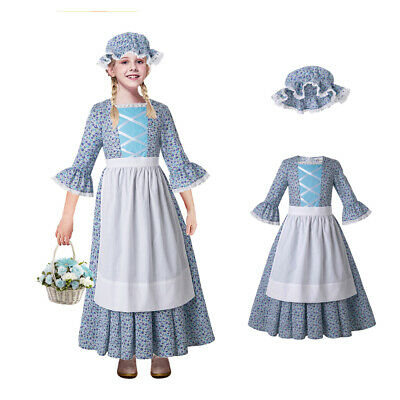 Prairie Pioneer Girl Costume Blue Dress Thanksgiving Pilgrim Little House SM-LG