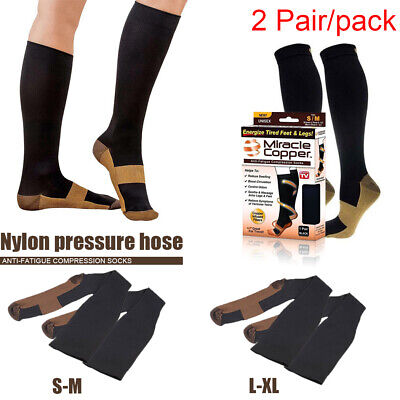 2pc Miracle Copper Compression Socks For Adult Unisex Anti Fatigue Comfort New
