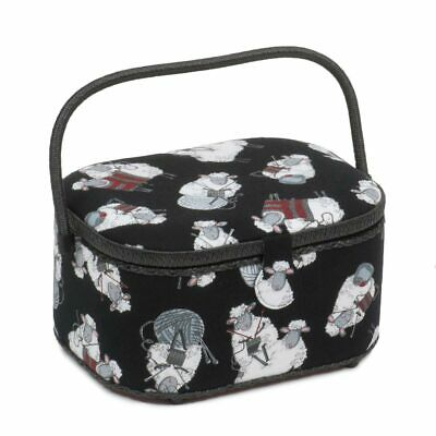 Knit Sheep Large Oval Sewing Box | 23 x 30 x 16cm | HobbyGift HGLO-462