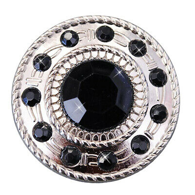 C-Ty16 Set Of 16 Black Crystal Rhinestone Wheel Conchos Bling Headstall Tack Cow