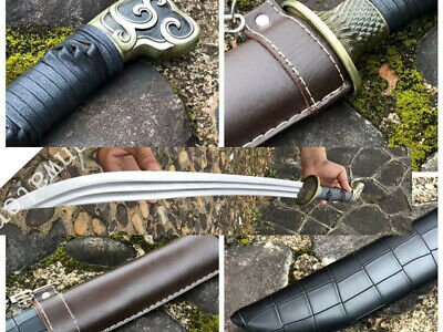 1095 CARBON STEEL BLADE HAS Strap CHINESE  DAO SWORD Imitation leather  SAYA