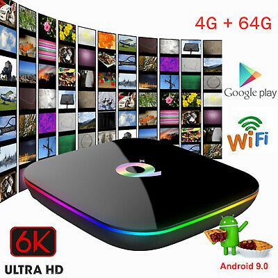 Smart Tv Box Q-Plus Android Pie 9.0 4Gb Ram 64Gb 6K Iptv Dazn Wifi Nuovo P8J8