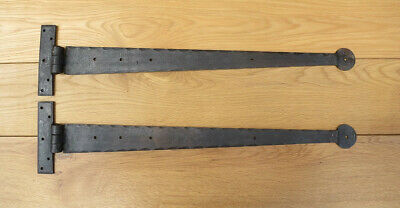 """Pair Of 22"""" T Hinges Hand Forged Black Iron Penny End"""
