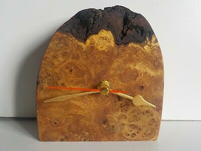 Solid Burr/Burl English Oak Handcrafted Desk Table Mantle Clock