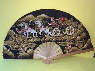 Large vintage hand painted fabric oriental bamboo hand fan - collectable