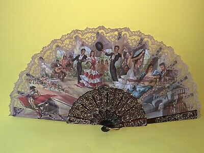 Collectable vintage Spanish flamenco dancer Souvenir fan