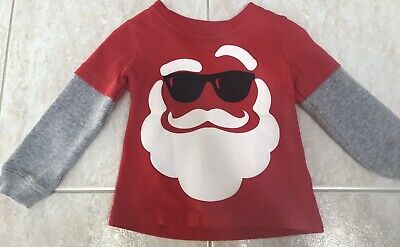 Carter's Boys 12 Months Christmas Tshirt Red Santa Clause