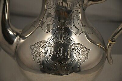 Cafetiere Verseuse Ancien Argent Massif 19C Antique Solid Silver Coffee Pot 522G