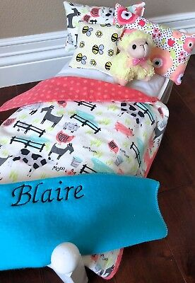 """18"""" Girl 2019 Doll of the year Bed Bedding American Made Blaire Personalized"""