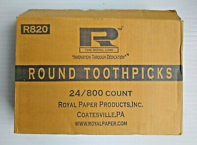 Royal Paper R820 Round Wooden Toothpicks Box of 24 Packs of 800 Count