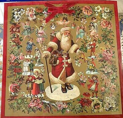 Father Christmas Santa Claus Tapestry Style Advent Calendar Decoration