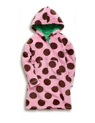NEW Mini Boden Girls Velour Pink Brown Polka Dots Hooded Dress 13-14 y