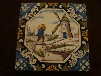 Delft Tile depicting figure carrying sack and windmill   20/169