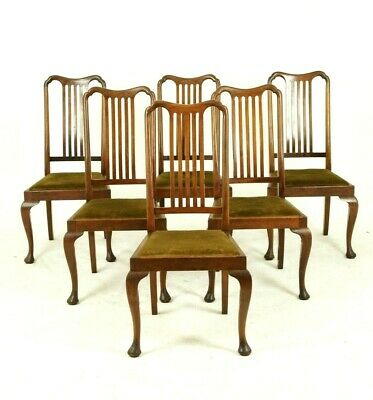 Six Dining Chairs, Antique Dining Chairs, Queen Anne, Walnut, Scotland, B1407