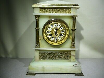 Antique - A. BROCOT Onyx Mantle Clock - French - 8 Day