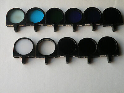 Set of 11 Glass Filters for fluorescence microscope LOMO ZEISS ( d = 31,8mm)